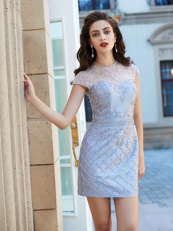 Sheath/Column Beading Jewel Short Sleeves Short/Mini Satin Dresses