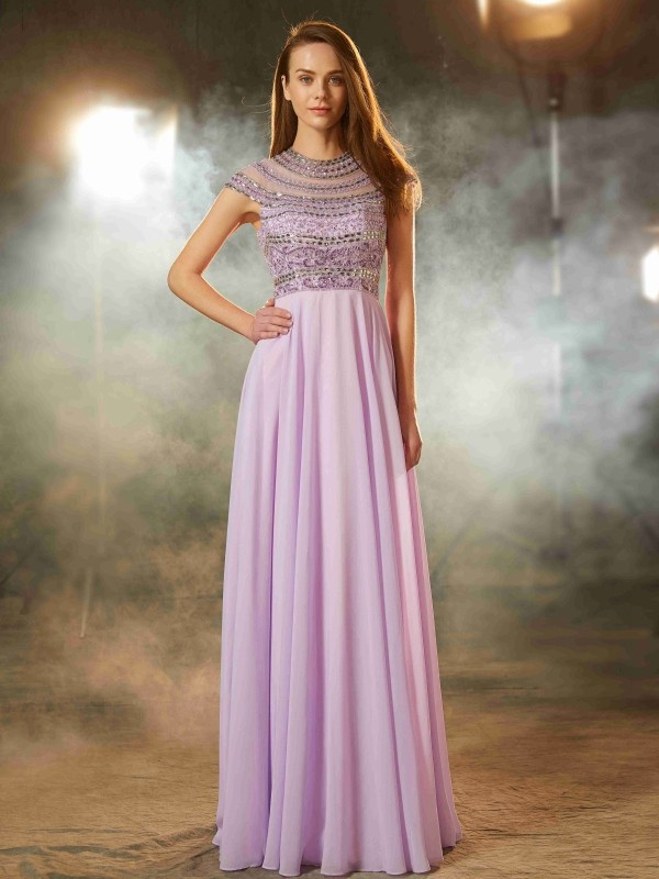 A-Line/Princess Beading Scoop Short Sleeves Floor-Length Chiffon Dresses