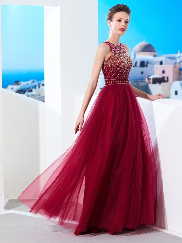 A-Line/Princess Beading Scoop Sleeveless Floor-Length Tulle Dresses