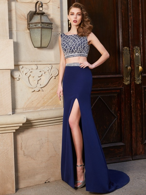 Sheath/Column Beading Bateau Sleeveless Sweep/Brush Train Elastic Woven Satin Two Piece Dresses