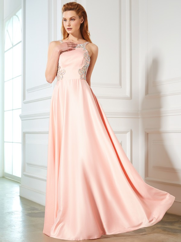 A-Line/Princess Beading Scoop Sleeveless Floor-Length Satin Dresses