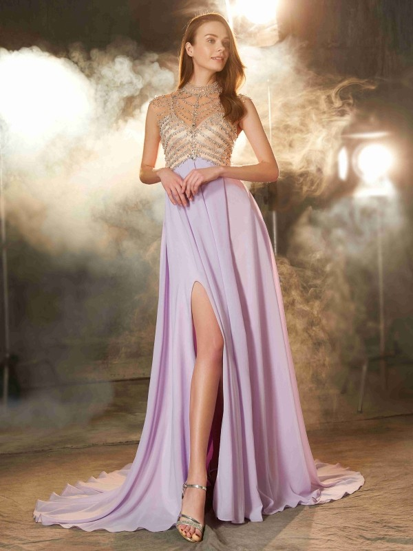 A-Line/Princess Crystal High Neck Sleeveless Sweep/Brush Train Chiffon Dresses