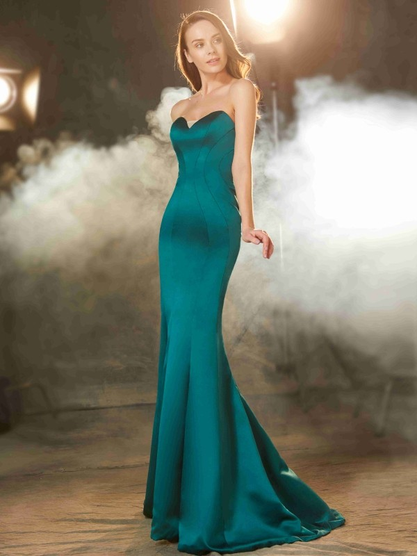 Trumpet/Mermaid Ruched Sweetheart Sleeveless Sweep/Brush Train Satin Dresses
