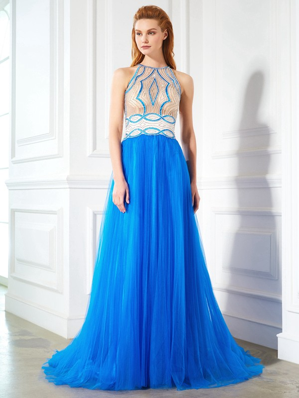 A-Line/Princess Beading Jewel Sleeveless Floor-Length Net Dresses