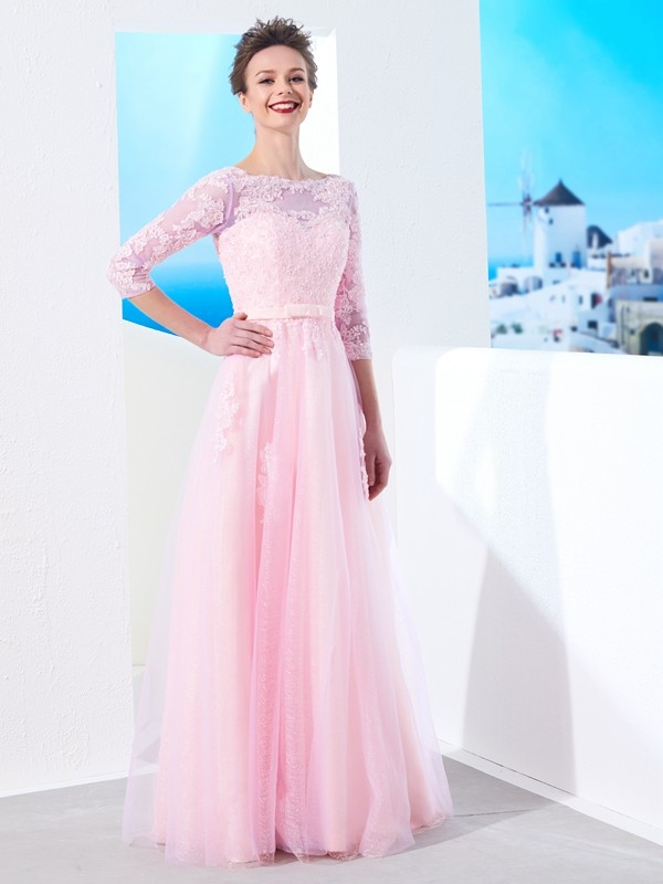 A-Line/Princess Applique Bateau 1/2 Sleeves Floor-Length Tulle Dresses