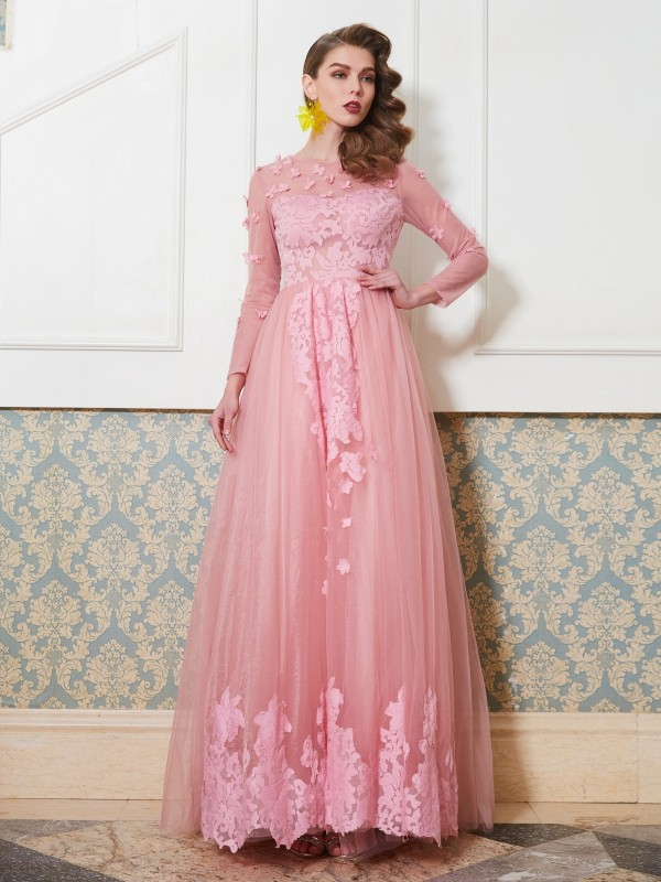 A-Line/Princess Applique Scoop 3/4 Sleeves Floor-Length Tulle Dresses