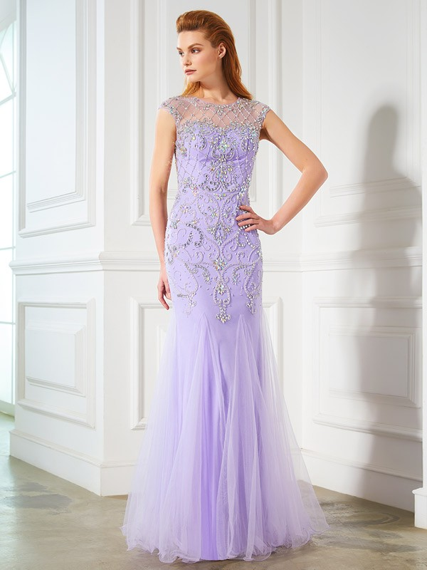 Trumpet/Mermaid Beading Scoop Sleeveless Floor-Length Tulle Dresses