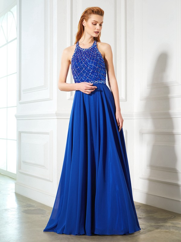 A-Line/Princess Beading Jewel Sleeveless Sweep/Brush Train Chiffon Dresses
