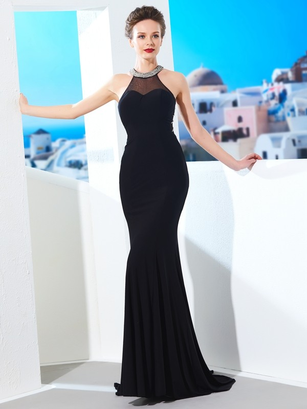Sheath/Column Beading Jewel Sleeveless Sweep/Brush Train Spandex Dresses