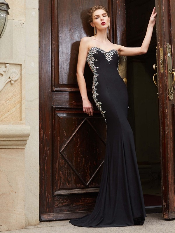 Sheath/Column Sequin Sweetheart Sleeveless Sweep/Brush Train Spandex Dresses