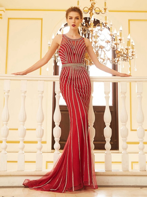 Sheath/Column Beading Scoop Sleeveless Sweep/Brush Train Net Dresses