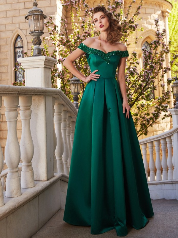 A-Line/Princess Sequin Off-the-Shoulder Sleeveless Floor-Length Satin Dresses