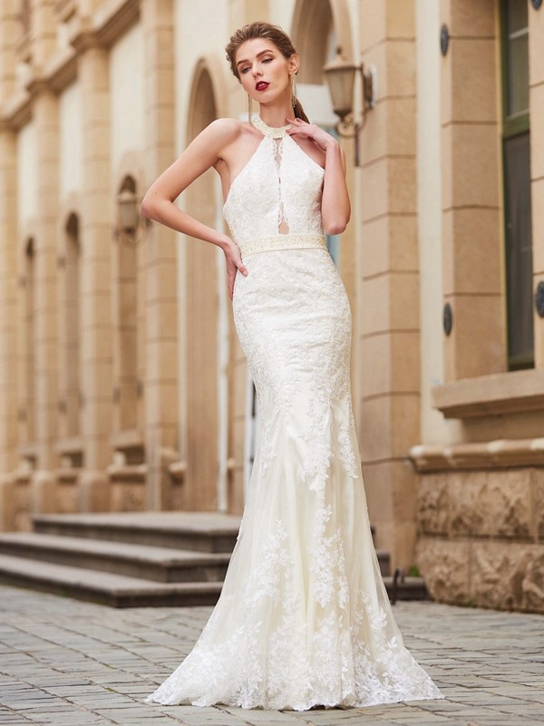 Sheath/Column Applique Jewel Sleeveless Floor-Length Lace Dresses