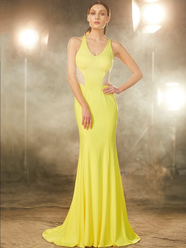 Trumpet/Mermaid Beading V-neck Sleeveless Sweep/Brush Train Spandex Dresses