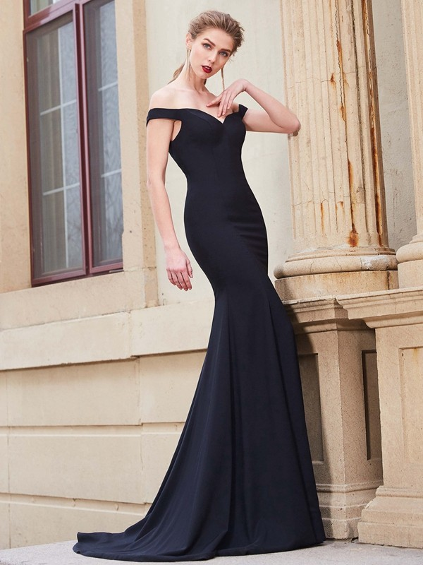 Trumpet/Mermaid Ruffles Off-the-Shoulder Sleeveless Sweep/Brush Train Satin Dresses
