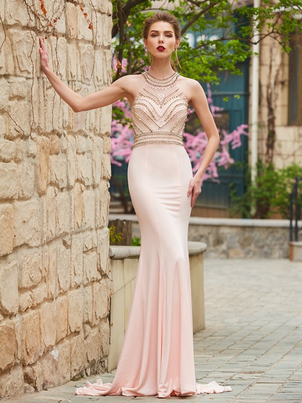 Sheath/Column Beading Scoop Sleeveless Sweep/Brush Train Spandex Dresses