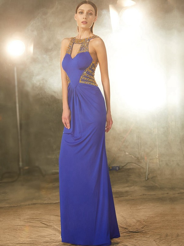 Sheath/Column Beading Scoop Sleeveless Floor-Length Spandex Dresses