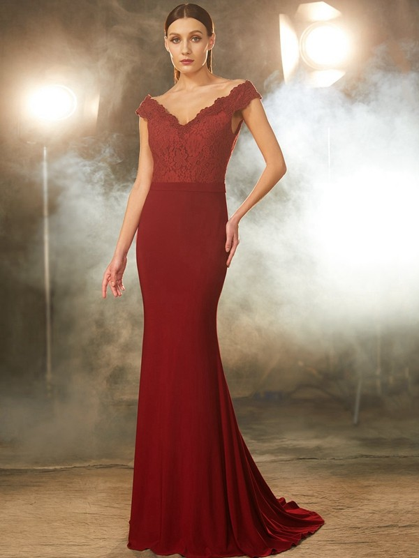 Trumpet/Mermaid Lace Off-the-Shoulder Sleeveless Sweep/Brush Train Spandex Dresses