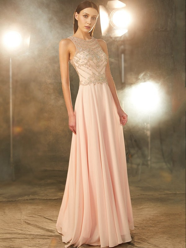 A-Line/Princess Crystal Scoop Sleeveless Floor-Length Chiffon Dresses
