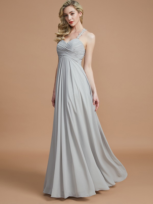 A-Line/Princess Ruched Sweetheart Sleeveless Floor-Length Chiffon Bridesmaid Dresses