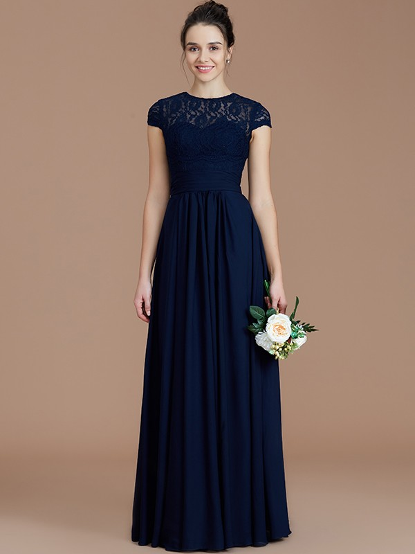 A-Line/Princess Lace Jewel Short Sleeves Floor-Length Chiffon Bridesmaid Dresses