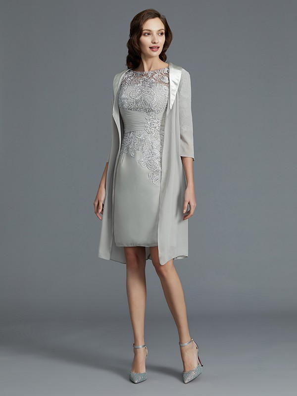 Sheath/Column Scoop 1/2 Sleeves Short/Mini Chiffon Mother of the Bride Dresses