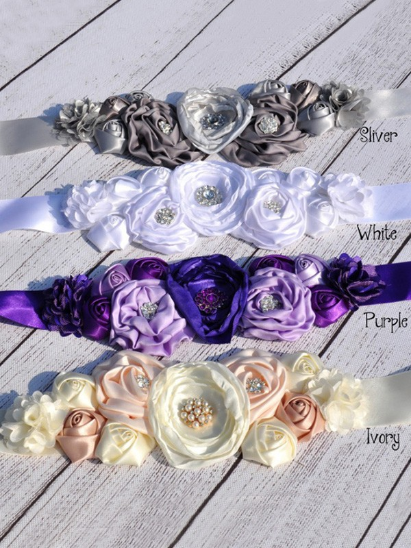 Fancy Satin Sashes With Rhinestones/Imitation Pearls