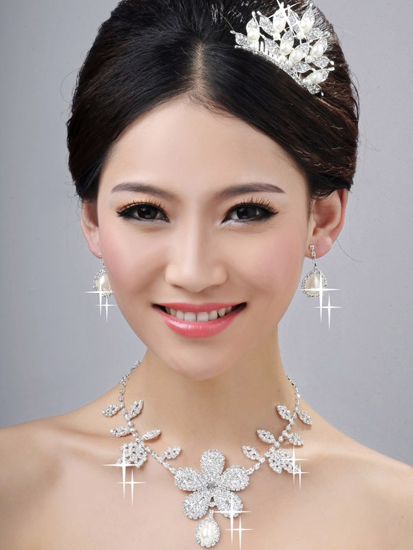 Bright Pearls Alloy Clear Crystals Wedding Headpieces Necklaces Earrings Set