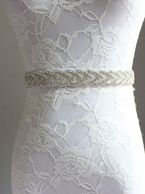 Charming Satin Sashes With Rhinestones