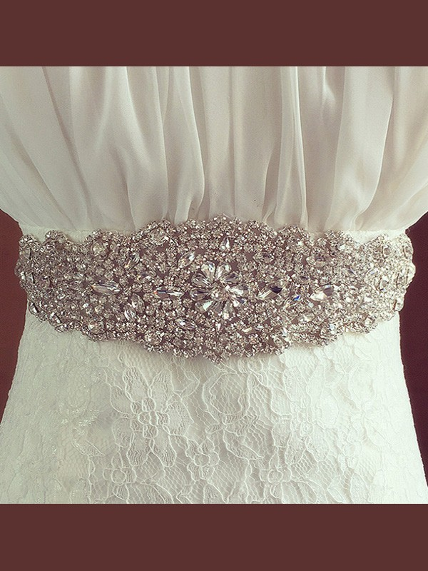 Luxurious Satin Sashes With Rhinestones