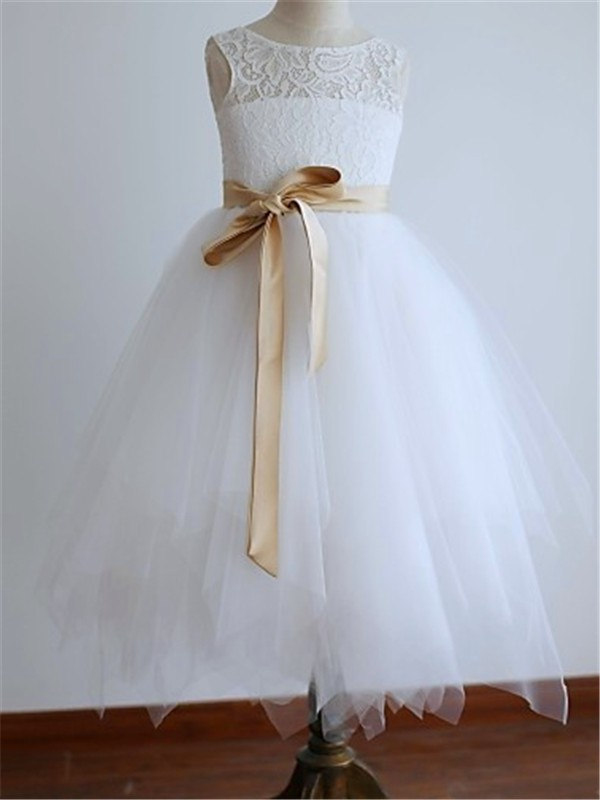 A-Line/Princess Sash/Ribbon/Belt Scoop Sleeveless Ankle-length Tulle Flower Girl Dresses
