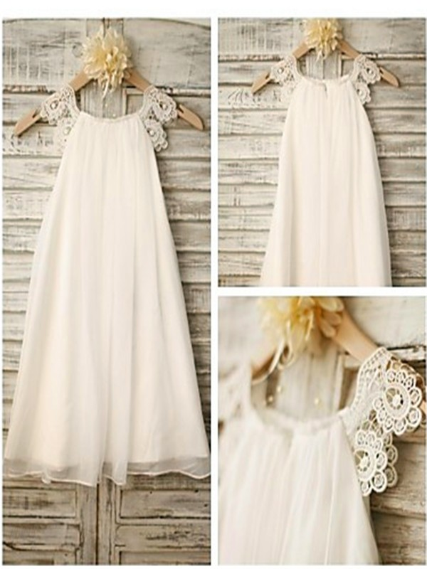A-Line/Princess Lace Scoop Sleeveless Tea-Length Chiffon Flower Girl Dresses