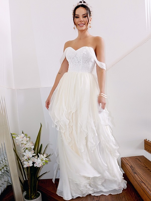 A-Line/Princess Ruched Off-the-Shoulder Sleeveless Floor-Length Chiffon Wedding Dresses