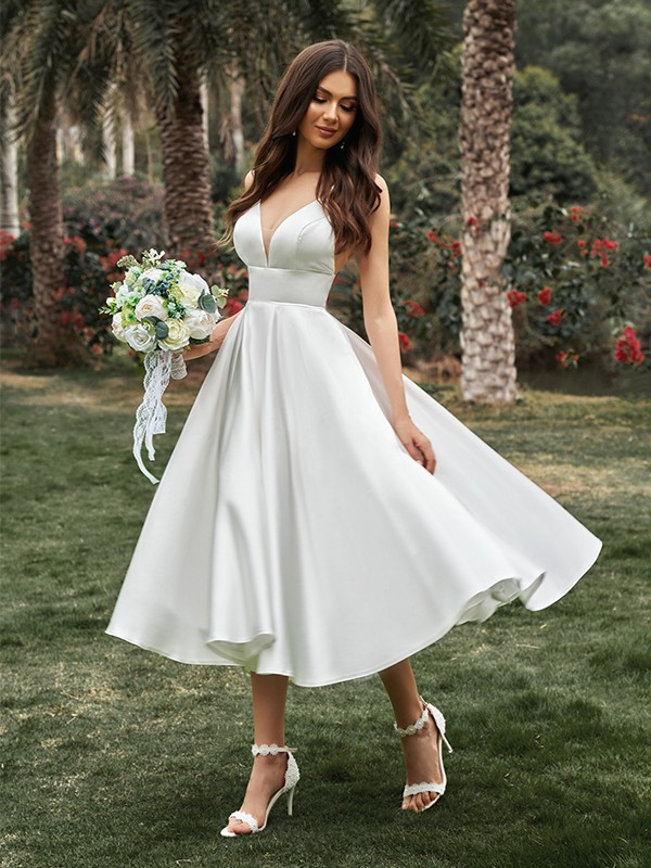 A-Line/Princess Ruffles V-neck Sleeveless Satin Tea-Length Wedding Dresses