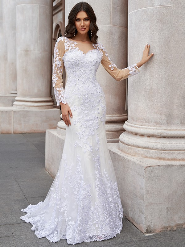 Trumpet/Mermaid Tulle Applique Scoop Long Sleeves Sweep/Brush Train Wedding Dresses