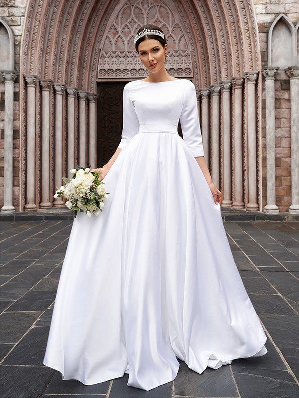 A-Line/Princess Satin Bowknot Bateau 3/4 Sleeves Sweep/Brush Train Wedding Dresses
