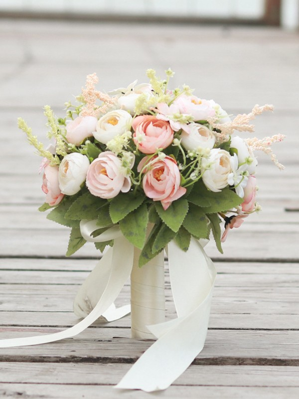 Fascinating Round Silk Flower Bridal Bouquets