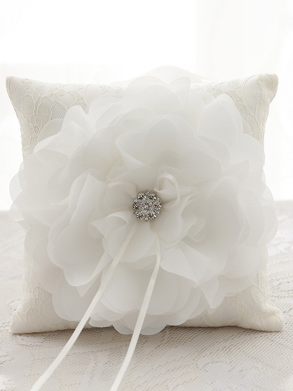 Gorgeous Ring Pillow In Cloth/Lace With Hand-Made Flower/Rhinestone