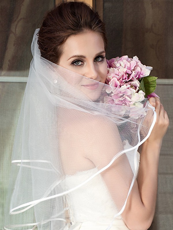 Graceful Tulle Two Tier Elbow Wedding Veils