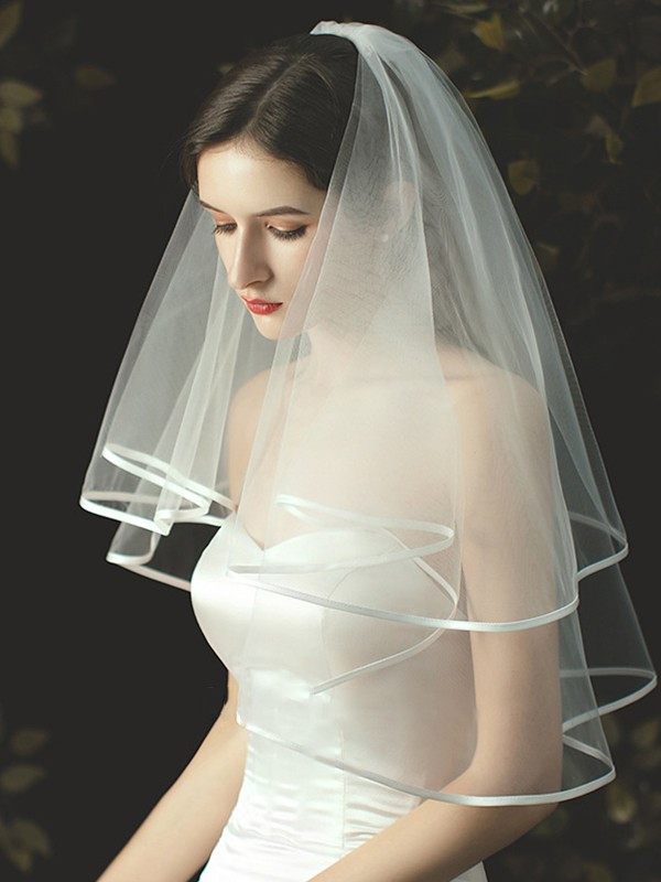 Simple Tulle Elbow Wedding Veils With Ribbon Edge