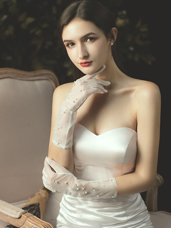 Unique Tulle With Pearl Elbow Length Wedding Gloves