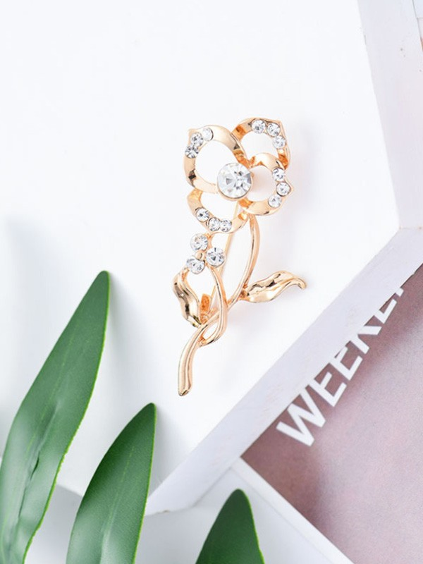Graceful Alloy With Rhinestone Ladies' Brooch