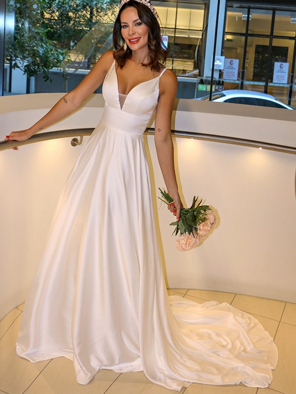 A-Line/Princess Charmeuse Spaghetti Straps Ruffles Sleeveless Sweep/Brush Train Wedding Dresses