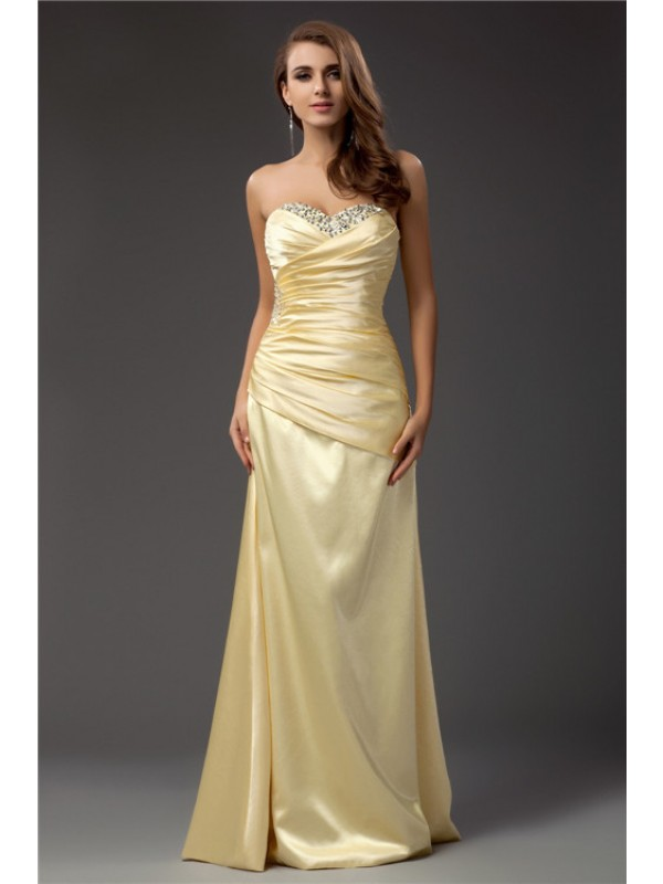 Sheath/Column Beading Sweetheart Sleeveless Floor-Length Taffeta Dresses