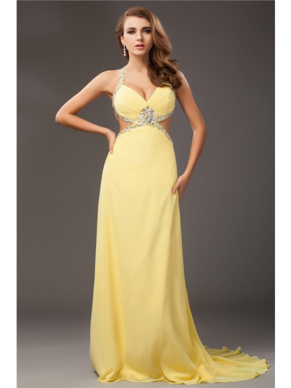 Sheath/Column Beading Halter Sleeveless Sweep/Brush Train Chiffon Dresses