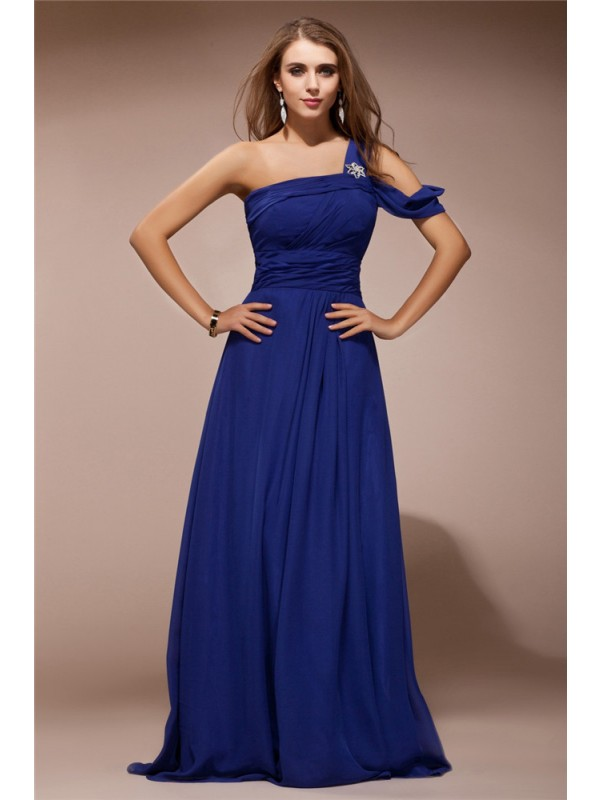 Sheath/Column Ruffles One-Shoulder Sleeveless Floor-Length Chiffon Dresses