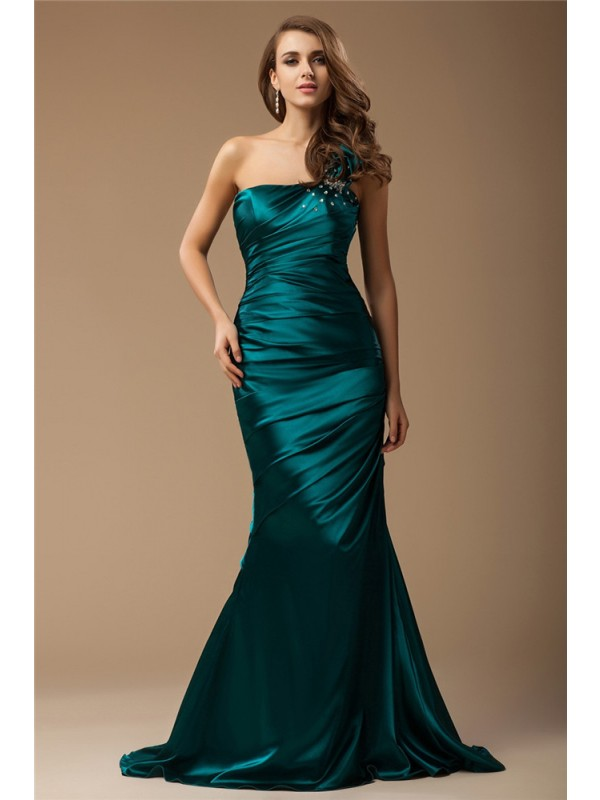 Trumpet/Mermaid Beading One-Shoulder Sleeveless Sweep/Brush Train Elastic Woven Satin Dresses