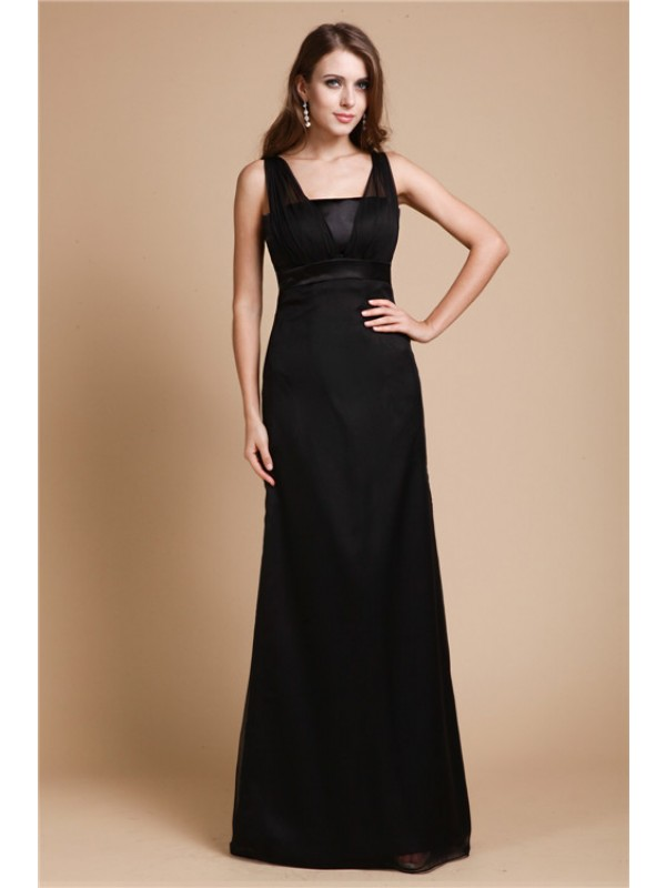 Sheath/Column Sash/Ribbon/Belt Straps Sleeveless Floor-Length Chiffon Dresses