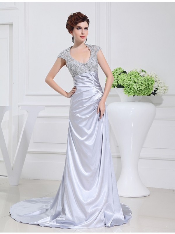 A-Line/Princess Beading Scoop Sleeveless Sweep/Brush Train Elastic Woven Satin Dresses