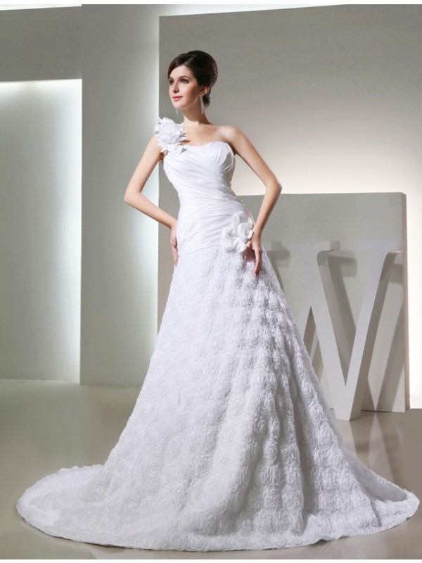 A-Line/Princess Hand-Made Flower One-Shoulder Sleeveless Cathedral Train Taffeta Wedding Dresses